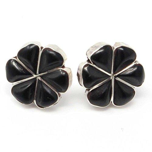 Onyx Sterling Silver Inlay Flower Stud Earrings By Martinez