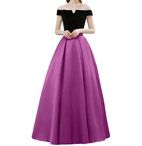 Satin Bodenlang Partykleider linie Ballkleider Abendkleider Kurzarm Elegant Rock Pink Tanzenkleider A Damen Charmant aEwCqTS