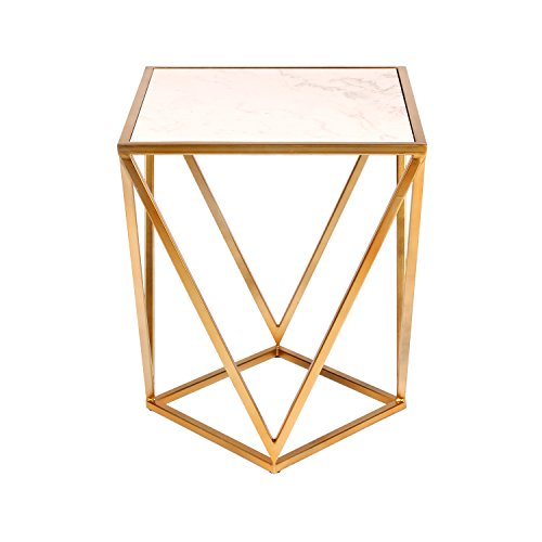 (Kate and Laurel Maia Metal Side Accent Table with Marble Top, Gold)