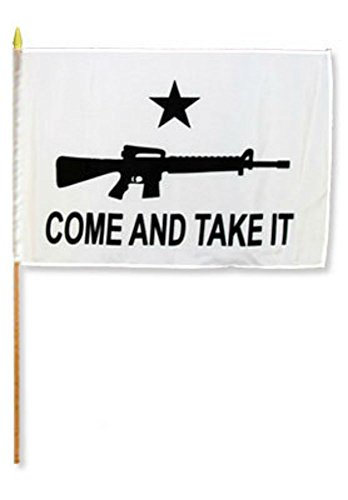ALBATROS 12 inch x 18 inch (Pack of 12) Come and Take It Rifle Stick Flag Staff for Home and Parades, Official Party, All Weather Indoors Outdoors