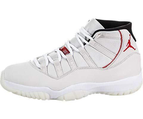 Jordan Men's Air 11 Retro, Platinum Tint/Sail-University Red (10.5 M US)