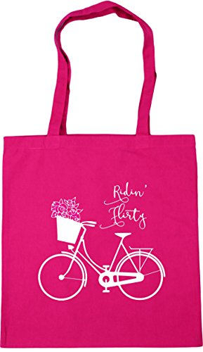compra la de «Ridin' de x nbsp;litros con mensaje 10 Bolsa para tela playa HippoWarehouse 42 38 bicicleta con Fucsia nbsp;cm etc nbsp;cm Flirty» una de dibujo 6vpZpYq