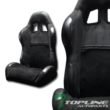 Topline Autopart Sp Sport Style Black Suede Leather Reclinable Racing Bucket Seats Sliders L+R T01 (Corbeau Bucket Seats compare prices)