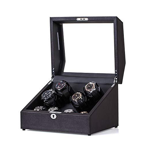 Watch Winders, JINS&VICO Luxury Watch Winder Box for Rolex Automatic, 4+4 Watch Storages Case Built-in Illumination