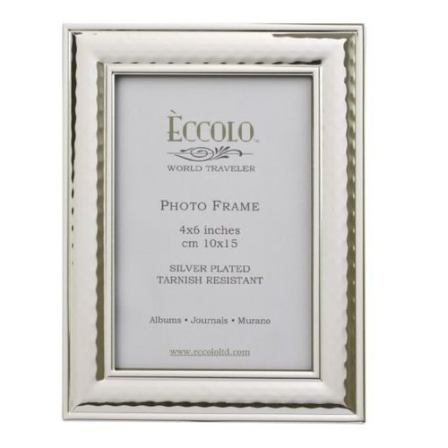 Eccolo World Traveler Hammered Silver Plated Frame, Holds a 4 x 6-Inch Photo