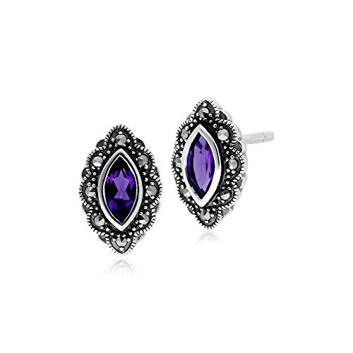 Gemondo Amethyst Earring, Sterling Silver Amethyst & Marcasite Art Nouveau Stud Earrings