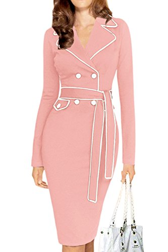 Women Elegant Long Sleeve Double Breasted Pencil Bodycon Business Suit Dress With Belt Plus Size Pink XXL