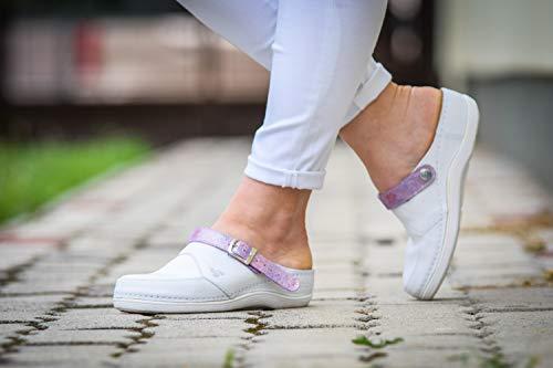 Amazon.com: stepso blanco zuecos de piel mujer color correa ...