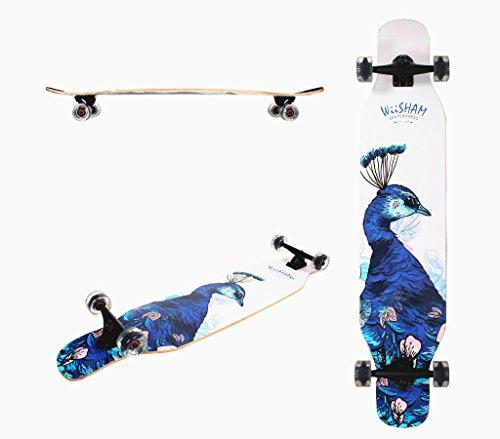 WiiSHAM 46 Inchs Professional Dancing Downhill Drop Through Complete Longboard Skateboard