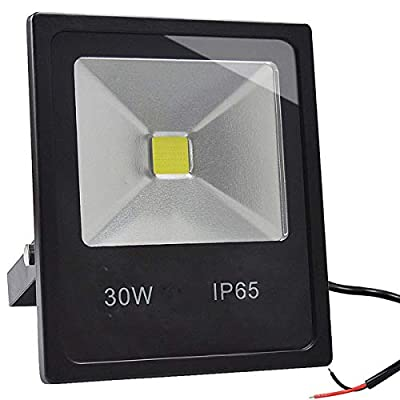 GLW 30W LED Flood Light 12-24V DC/AC Outdoor Super Bright Fishing Light IP65 Waterproof,3000K,2700lm,Warm White 150W Halogen Bulb Equivalent for Garage, Garden and Yard