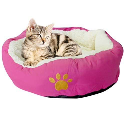 Evelots Soft Pet Bed,For Cats & Dogs, 17'' D x 5'' H, Magenta by Evelots