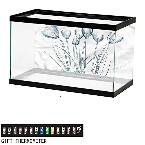 - bybyhome Fish Tank Backdrop Flower,Tulips with Solar Effect,Aquarium Background,48