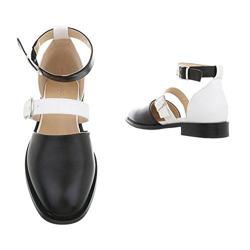 Scarpe Ballerine donna Ital Design Ballerine blocco tacco Bianco da classiche Nero a rrqCFpw