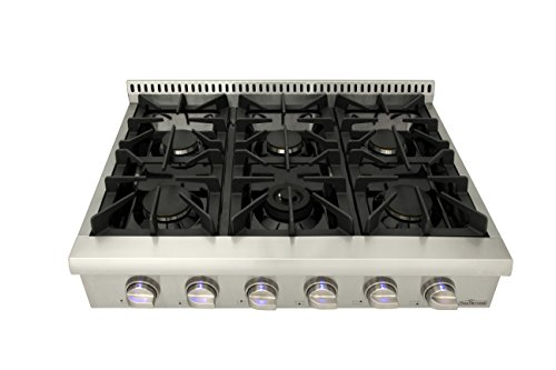 Top gas stove with 6 36-inch sealed burners, stainless steel HRT3618U independent combustion gas stove knob (US warehouse ()