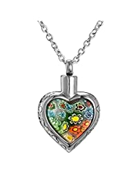 AMIST Multi-color Flower Cremation Jewelry Keepsake Pendant Memorial Urn Necklace