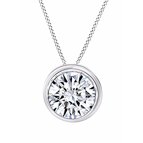 Jewel Zone US Round Cut White Cubic Zirconia Bezel Set Solitaire Pendant Necklace in 14k Solid Gold (1 cttw)