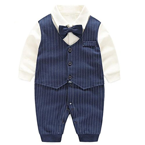 Fairy Baby Baby Boy Gentleman Outfit Formal Romper Infant Tuxedo Dress Suits,9-12M,Navy Blue Stripe