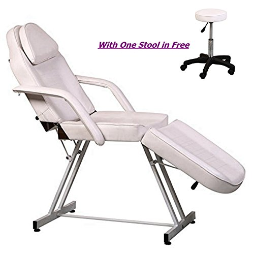 BeautyStar Salon Furniture Facial Bed with a Free Stool Adjustable All Purpose Facial Massage Eyebrow Make-up Waxing Table Bed Chair