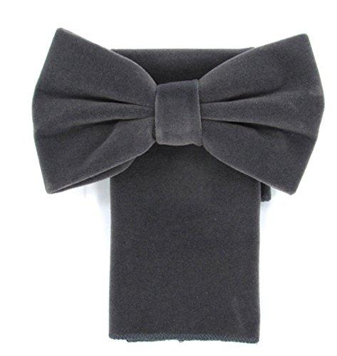 Oliver George Velvet Bow Tie Set (Grey)-NN (Silk Jeans Velvet)