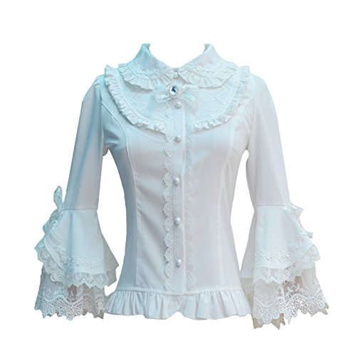 Smiling Angel Women's Cotton Lace Long Sleeve Vintage Flared Sleeves Lolita Blouse Shirts (Angel Blouse)