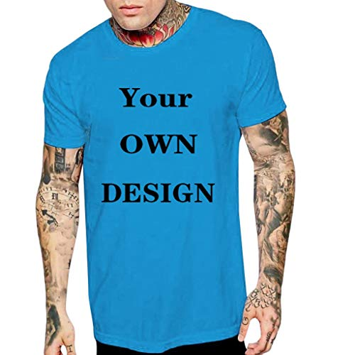 iHPH7 T-Shirt Men Premium Fitted Crewneck T-Shirt Fashion Men Casual Summer Letter Print Short Sleeve O-Neck Tops Blouse T-Shirts M Blue -