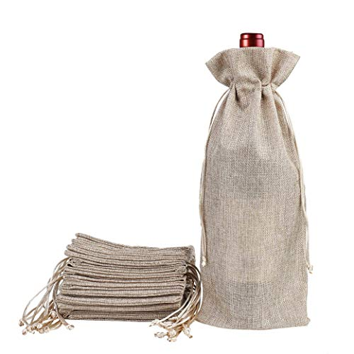Linen Gift Bag - Burlap Jute Wine Bags with Drawstring 12 Pack Natural Linen Gift Bags Reusable Bottle Wrap for Wine Tasting Party Wedding Birthday Christmas