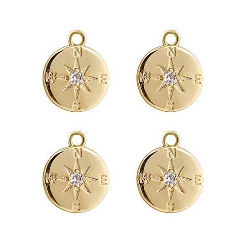 Wholesale 4PCS 14K Gold Plated Compass Pendant Dainty Round Disk Friendship Charms Supplies for Jewelry Making