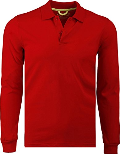 Marquis Men's Jersey Slim Fit Long Sleeve Golf Polo Knit, X-Large, Red (Jersey Long Sleeve Polo Shirt)
