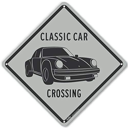 """PetKa Signs and Graphics PKAC-1213-NA_10x10""""Classic Car Crossing Porsche"""" Aluminum Sign, 10"""" x 10"""", Gray"""
