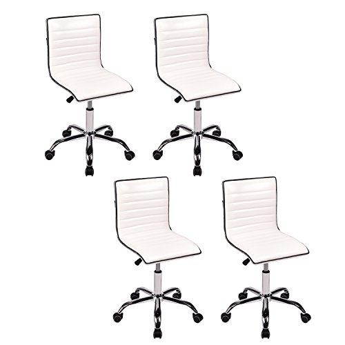 PULUOMIS Swivel Mid Back Armless Ribbed Designer Task Chair Leather Soft Upholstery Office Chair White, Set of 4