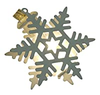 Product Works Signature Battery Operated Snowflake Metal Cap LED Light String, White, 4.5-Feet