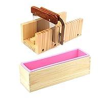 ESA Supplies - Juego de moldes para cortar pan de jabón de madera y cortador de jabón + 1 pieza de molde rectangular de silicona con caja de madera + 1 pieza de cortador recto + 1 pieza de cortador ondulado