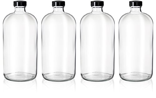 4 Pack - 32oz Boston Round Clear Glass Growler Bottles- with Phenolic Poly Cone Insert Caps - Tight Seal for Secondary Kombucha Fermentation