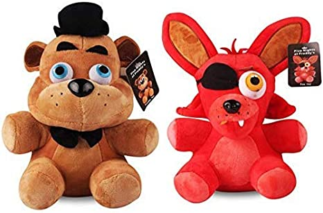 Peluches,Freddy & Foxy Plush Toy Five Nights At Freddy 4 FNAF Freddy Fazbear Bear & Fox Foxy Plush Peluches Muñeca Regalos 2Pcs / Lot 25Cm