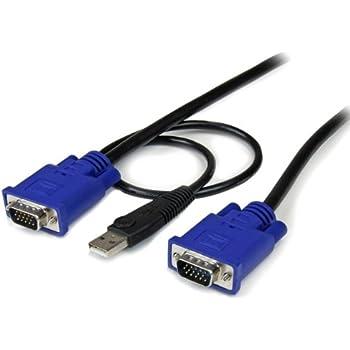 10 ft Ultra Thin USB VGA 2-in-1 KVM Cable - VGA KVM Cable - USB KVM Cable - KVM Switch Cable