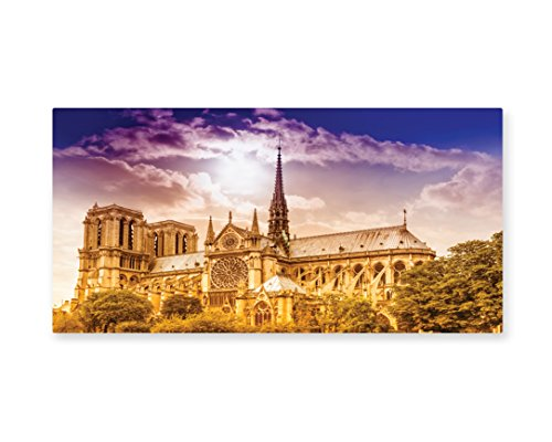Lunarable Paris Wall Art, Notre Dame Cathedral Paris Parisian Gothic Trees Forest Sun Cloudy Sky, Gloss Aluminium Modern Metal Artwork for Wall Decor, 23.5 W X 11.6 L Inches, Yellow (Paris Themed Party Costume Ideas)
