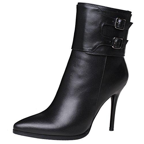Black cortos mujer Toe Tacones amp;X Señaló con QIN la Botines zapatos Stiletto plataforma FU87xZ