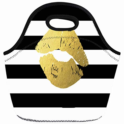 Ahawoso Reusable Insulated Lunch Tote Bag Makeup Gold Lips With Black Stripes Artist Zippered 10X11 Neoprene School Picnic Gourmet Lunchbox