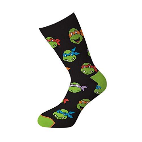 Cool Socks Men's Knit Crew Socks, Teenage Mutant Ninja Turtles, Retro Turtle Heads (Multi, 6-13) ()