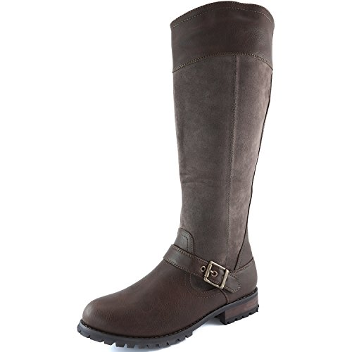 Knee DailyShoes SV Strap Buckle Military Ankle Women's Boots Brown Combat High 5qqBP