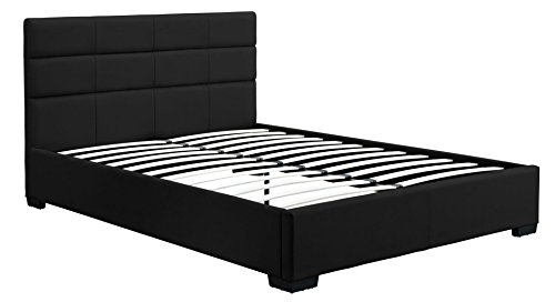 DHP Modena Faux Leather, Black Upholstered Bed with Wooden Slats Included, - Platform Contemporary Queen
