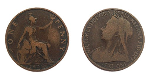 Collectible Coins - Circulated 1901 British Queen Victoria One Penny Coin / Great Britain