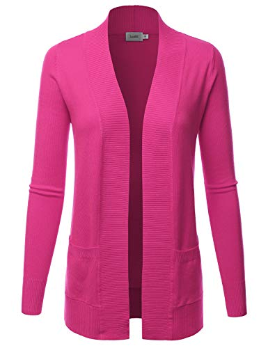 LALABEE Women's Open Front Pockets Knit Long Sleeve Sweater Cardigan-HOTPINK-M