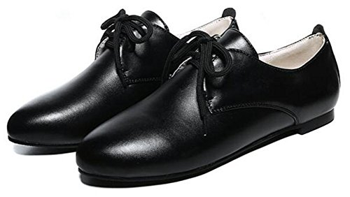 Low Top Comfy Toe Shoes Women's Round up Summerwhisper Lace Flats Oxfords Black fUXxwITSSq