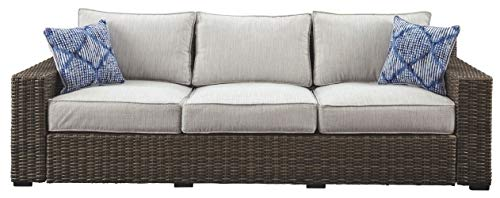 Ashley Furniture Signature Design - Alta Grande Outdoor Sofa with Cushion - Beige & Brown (Cottage Furniture Patio Summer)