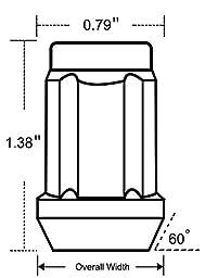 LEDKINGDOMUS Acorn Black 1/2-20 Spline Lug Nuts - Cone Seat - 3/4\