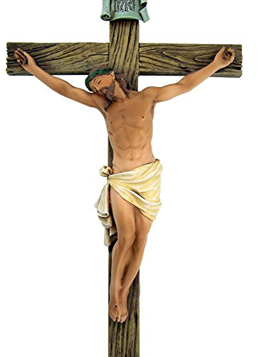 Jesus Nailed On The Cross Resin Wall Crucifix, 14 Inch