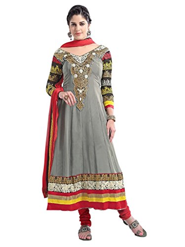 Vibes Women's Pure Georgette A Line Un Stitched Salwar Kameez V48(V48-3005_Grey)