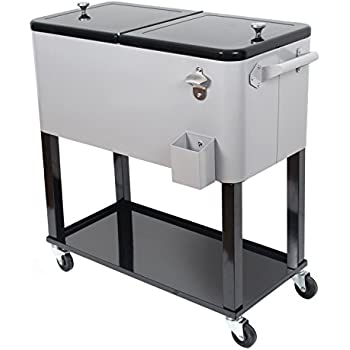 This Item UPHA 80 Quart Rolling Ice Chest Portable Patio Party Bar Drink  Entertaining Outdoor Cooler Cart On Wheels With Shelf,Silvery