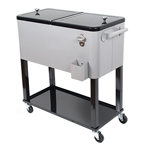 UPHA 80 Quart Rolling Ice Chest Portable Party Bar Drink Entertaining Outdoor Patio Cooler Cart on Wheels with Shelf,Silvery (Steel On Cooler Wheels Stainless)